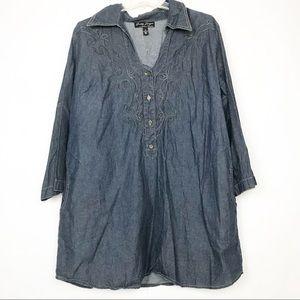 Gretty Zueger denim western embroidered tunic